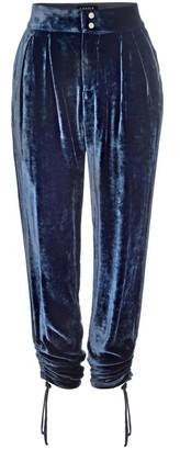 Lahive Ronan Silk Velvet Relaxed Pant- Navy Smoke Silk Velvet