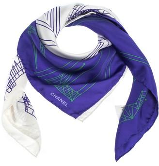 Chanel Purple Colorblock Graphic Printed Silk Square Scarf