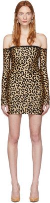Halpern Tan and Black Leopard Bare Shoulder Mini Dress