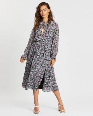 Missguided Floral Tie Front Keyhole Midi Dress