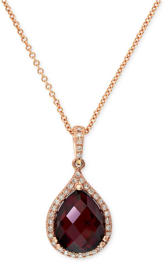 Effy Gemma by Garnet (4-1/5 ct. t.w.) and Diamond (1/8 ct. t.w.) Pear Pendant in 14k Rose Gold