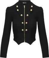 Hybrid Women's Military Crop stretch Gold Zip up Blazer Jacket KJK1125