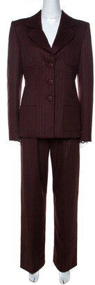 Valentino Burgundy Pinstripe Cashmere Classic Tailored Pantsuit M