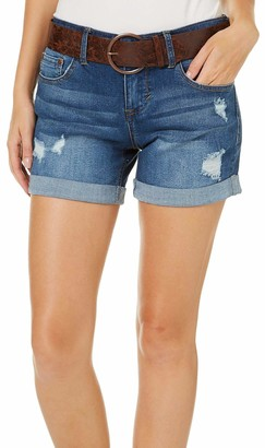 Dollhouse Women's Medium Wash Belted Shorts with Destruction