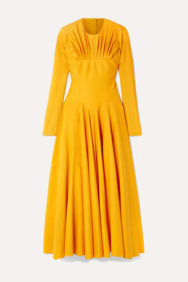Emilia Wickstead Nasiba Open-back Gathered Wool-gabardine Midi Dress - Marigold