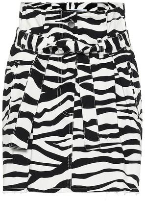 ATTICO Printed high-rise denim miniskirt