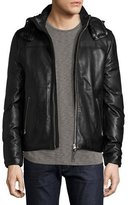Mackage Balfour Leather Down Bomber Jacket, Black