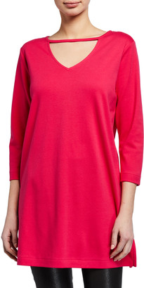 Joan Vass 3/4-Sleeve Crewneck Tunic