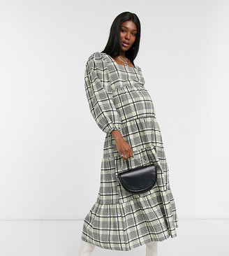 Topshop Maternity check tiered smock dress in green