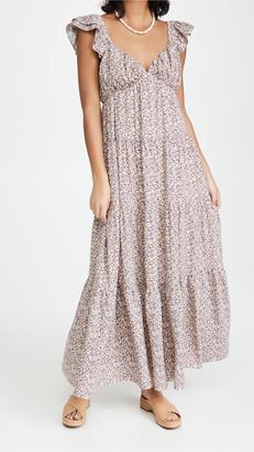 ENGLISH FACTORY Floral Ruffle Sleeve Maxi Dress