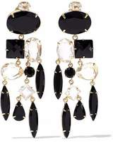 Bounkit Gold-Tone Onyx And Crystal Earrings