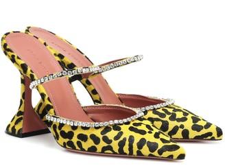 Amina Muaddi Exclusive to Mytheresa a Gilda embellished calf hair mules