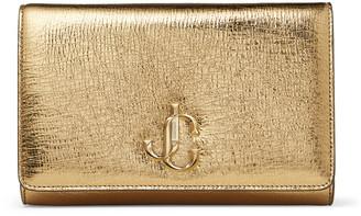 Jimmy Choo VARENNE CLUTCH Gold Metallic Vintage Leather Clutch Bag with JC Emblem