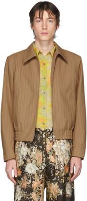 Dries Van Noten Brown and Red Pinstripe Zip-Up Jacket