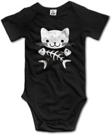Bsj Cat & Crossbones Fish Skull Baby Onesie Infant Clothes