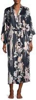 Natori Layla Floral-Print Long Robe, Black