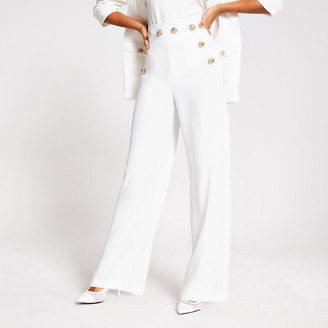 River Island White button detail wide leg