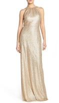 Amsale Women's 'Chandler' Sequin Tulle Halter Style Gown