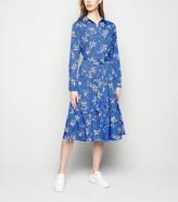 New Look Floral Leopard Print Midi Shirt Dress