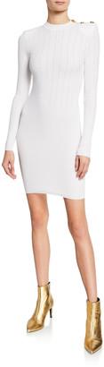 Balmain Mock-Neck Crochet Ribbed-Knit Button-Shoulder Mini Dress