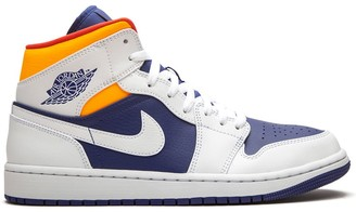 "Jordan Air 1 Mid ""Royal Blue/Laser Orange"" sneakers"