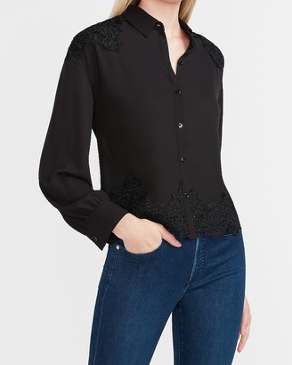 Express Lace Pieced Long Sleeve Shirt