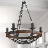 Three Posts Bacchus 6-Light Candle Style Wagon Wheel Chandelier