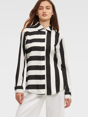 DKNY Women's Mixed-stripe Button-up Shirt - Black Ivory - Size XX-Small