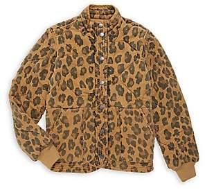 Blank NYC Girl's Leopard Print Quilted Jacket