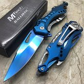 MTech M-Tech Spring Assisted Blue/Silver Aluminum Tactical Rescue Pocket Hunting Knife