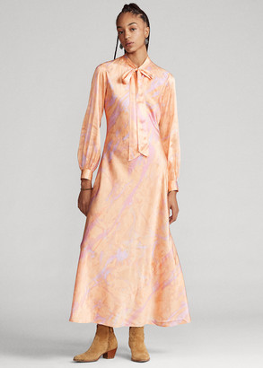 Ralph Lauren Silk Tie-Neck Dress