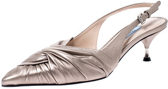 Prada Beige Metallic Pleated Leather Pointed Toe Slingback Sandals Size 38