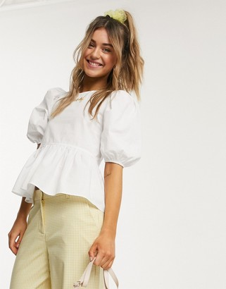 Monki Melina poplin organic cotton puff sleeve blouse in white