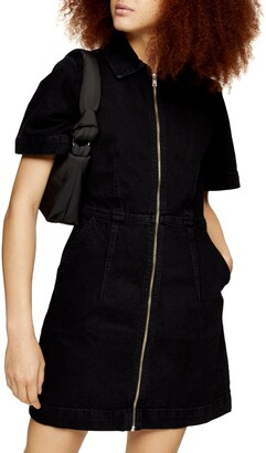 Topshop Washed Black Clean Zip Shirtdress