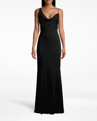 Nicole Miller New Stretch Crepe Asymmetric Cowl Neck Gown