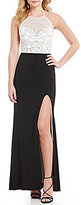 B. Darlin Beaded Bodice High Neck Illusion-Yoke Open-Back Color Block Long Dress
