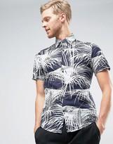 Reiss Slim Shirt In Tropical Print