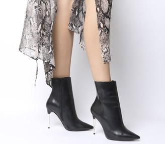 Office Aspire Metal Heel Point Boots Black Leather