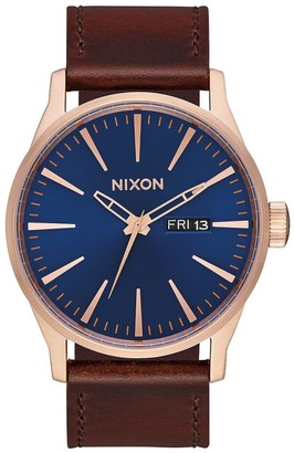 Nixon Men's Stainless Steel Quartz Watch with Leather Strap Brown 23 (Model: A105-2867-00)
