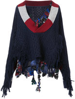 Sacai frayed cable knit sweater