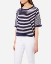 N.Peal Striped Cropped Cashmere T-Shirt