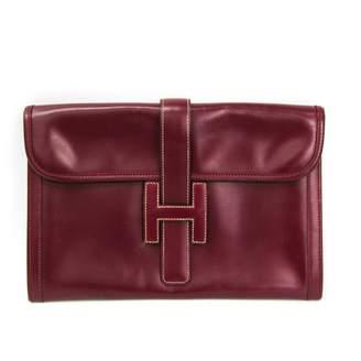 Hermes Jige Burgundy Leather Clutch bags