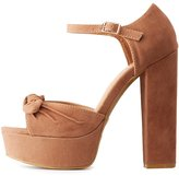 Charlotte Russe Bamboo Bow Two-Piece Platform Sandals
