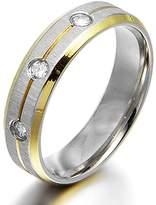 Gemini Groom Bride 18K Gold Filled CZ Diamonds Promise Wedding Titanium Ring 4mm Size 6 Valentine Day Gift