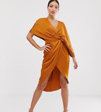 Asos Tall DESIGN Tall kimono midi dress with knot front and asymmetric sleeve in satin