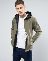 Original Penguin Lightweight Jacket Reversible Hooded Green Melange and Black