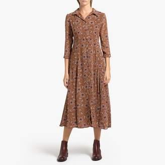 Celine Garance Paris Printed Midi Dress with Long Sleeves