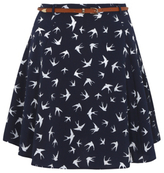 George Bird Print Belted Flippy Skirt
