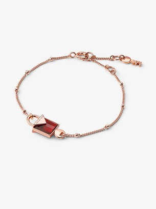 Michael Kors Precious Metal-Plated Sterling Silver Lock Bracelet