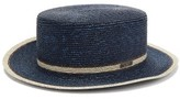 Fendi Striped Straw Boater Hat - Womens - Navy